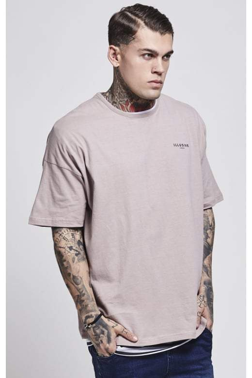 ILLUSIVE LONDON T-SHIRTS ILLUSIVE LONDON Trident Double Layer Box Tee – Beige