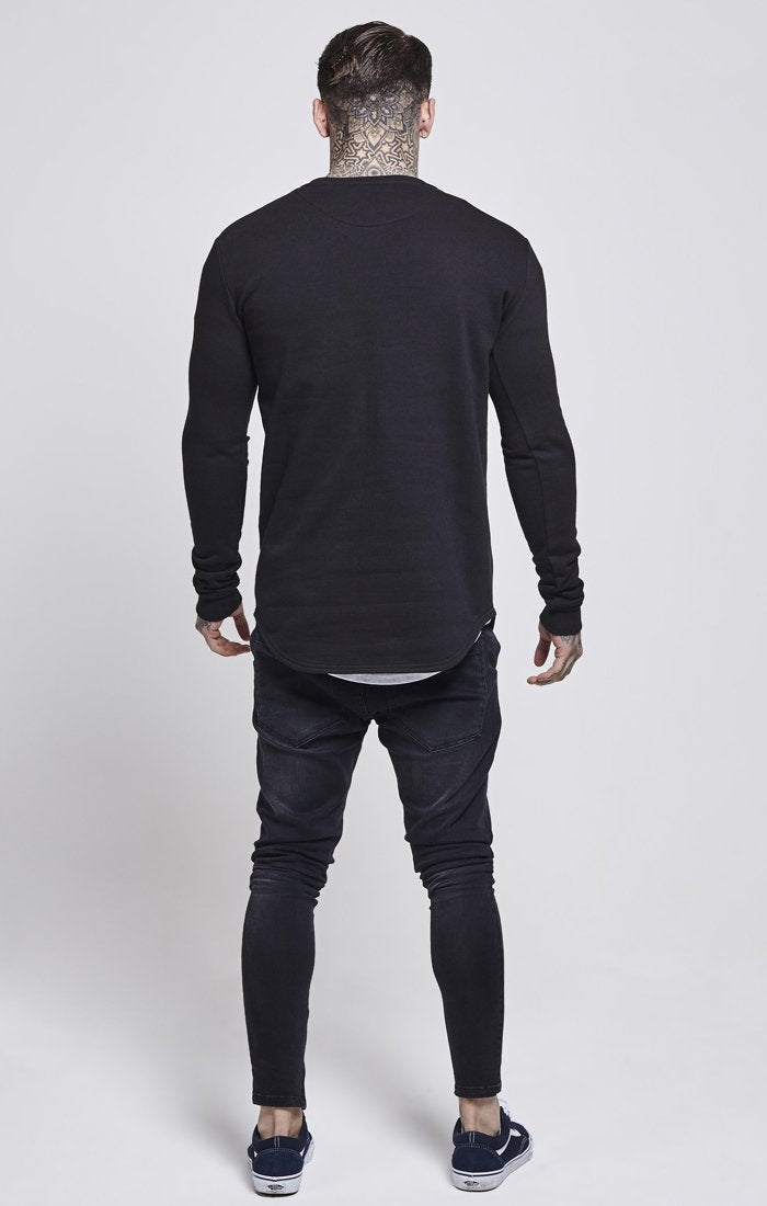 ILLUSIVE LONDON T-SHIRTS SikSilk Curved Hem Crew Sweater – Black