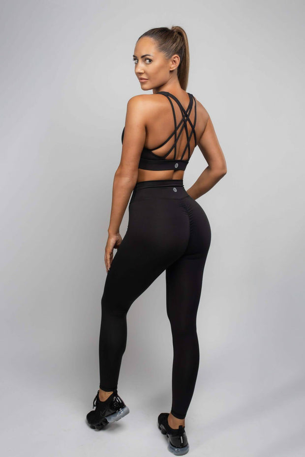 L COUTURE LEGGINGS L COUTURE - BLACK SCRUNCH BUM LEGGINGS