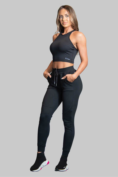 L COUTURE WOMENS TRACKSUIT TOP L COUTURE -BLACK TRACK CROP TOP