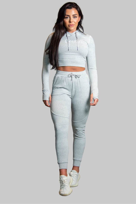 L COUTURE WOMENS TRACKSUIT TOP L COUTURE -GREY TRACK TOPS