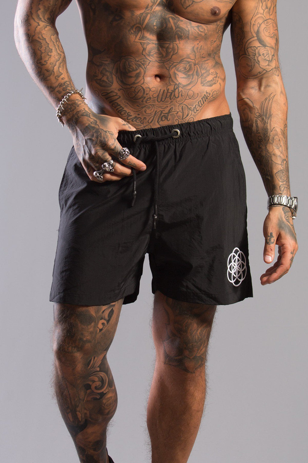 SCAR TISSUE SHORTS SCAR TISSUE BLACK SWIM SHORTS