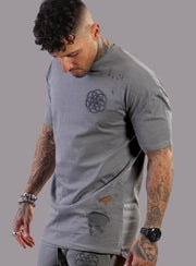SCAR TISSUE T-SHIRTS SCAR TISSUE ANTIQUE DISTRESSED DROP SHOULDER TEE (GREY)