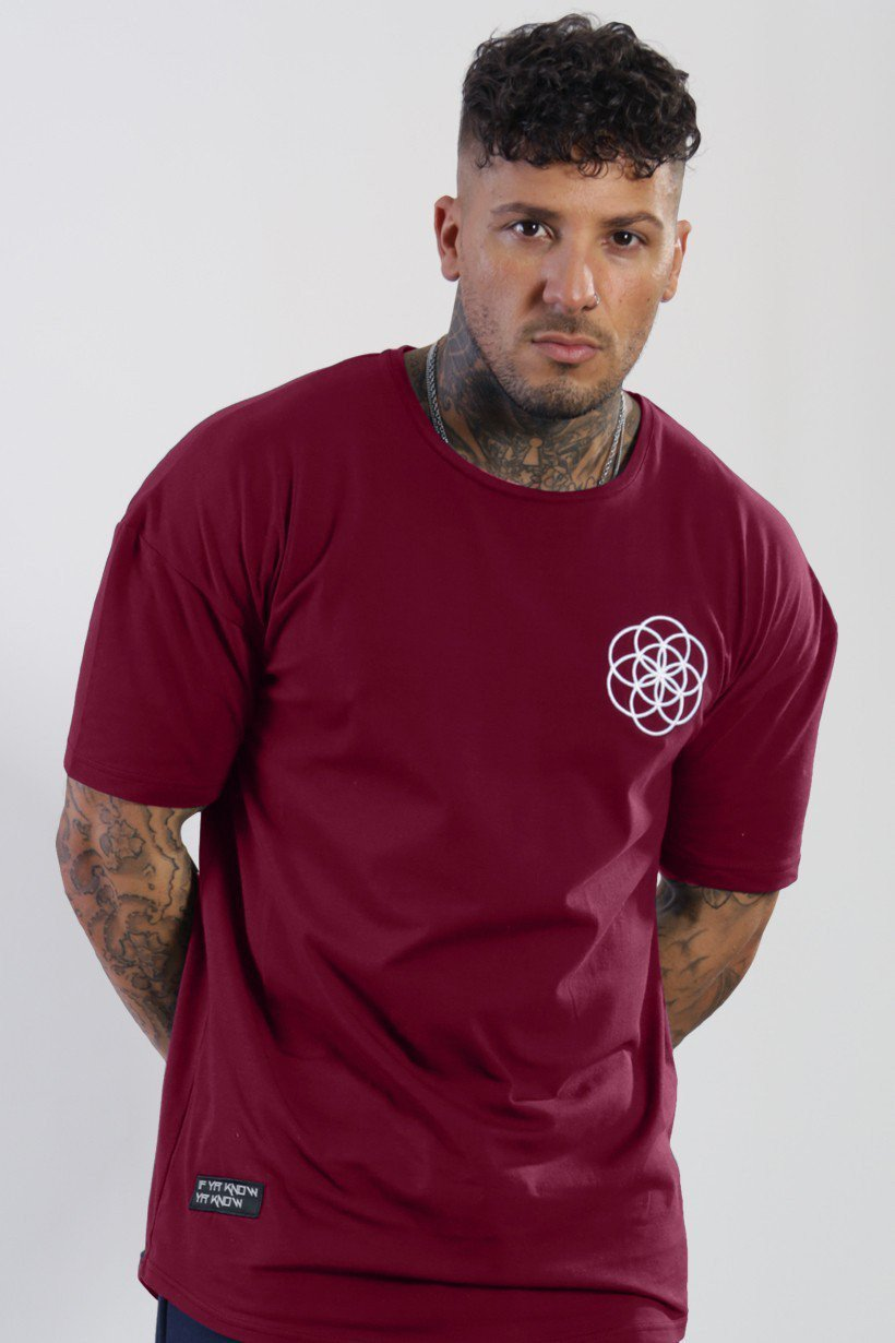 SCAR TISSUE T SHIRTS SCAR TISSUE CORE CURVED HEM TEE IN BURGUNDY