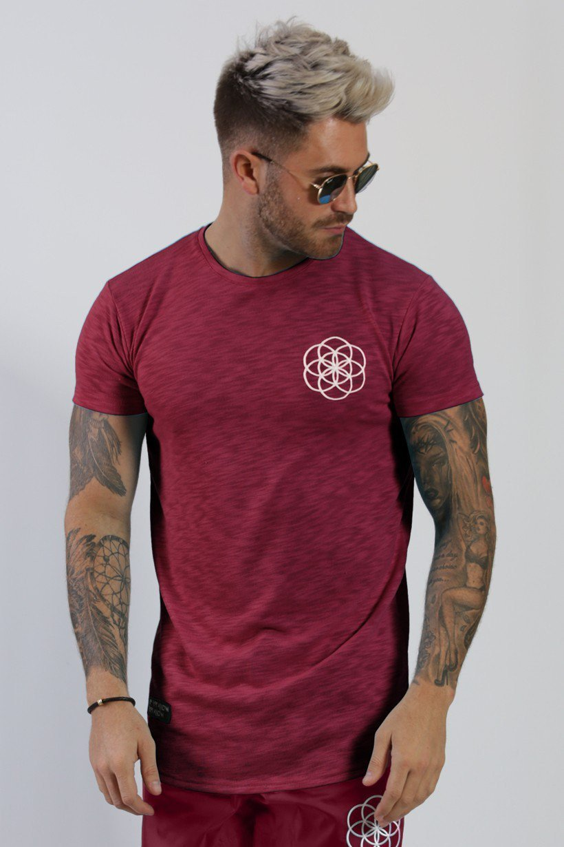 SCAR TISSUE T SHIRTS SCAR TISSUE SUMMER CURVED HEM TEE IN BURGUNDY