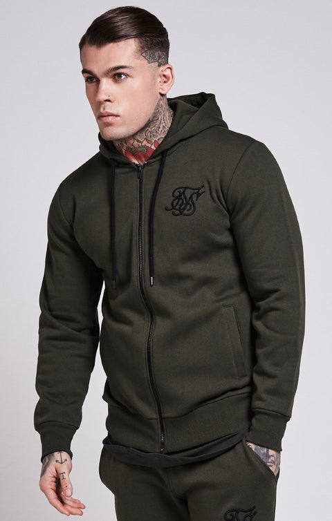 SIK SILK HOODIES SikSilk Zip Through Hoodie - Khaki