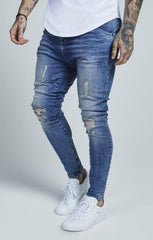 SIK SILK JEANS SikSilk Overworked Drop Crotch Denim – Dark Blue Wash