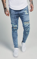 SIK SILK JEANS SikSilk Shotgun Hareem Jeans – Blue Acid Wash