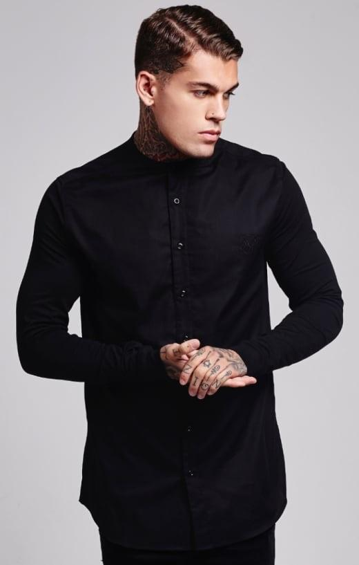 SIK SILK SHIRTS Sik Silk Grandad Collar Jersey Sleeve Fitted Shirt