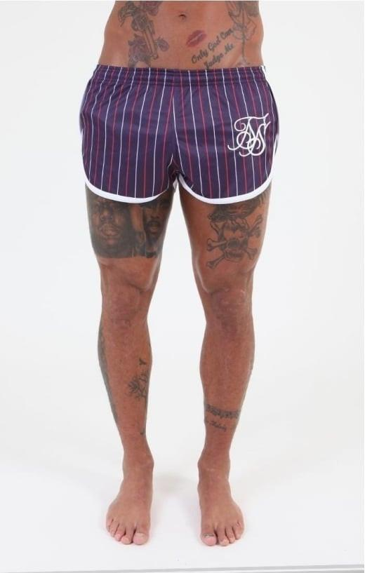 SIK SILK SHORTS SikSilk French Stripe Shorts  -  Navy