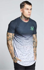 SIK SILK T-SHIRTS SikSilk  Curved Hem Fade Tee – Black Speckle Fade