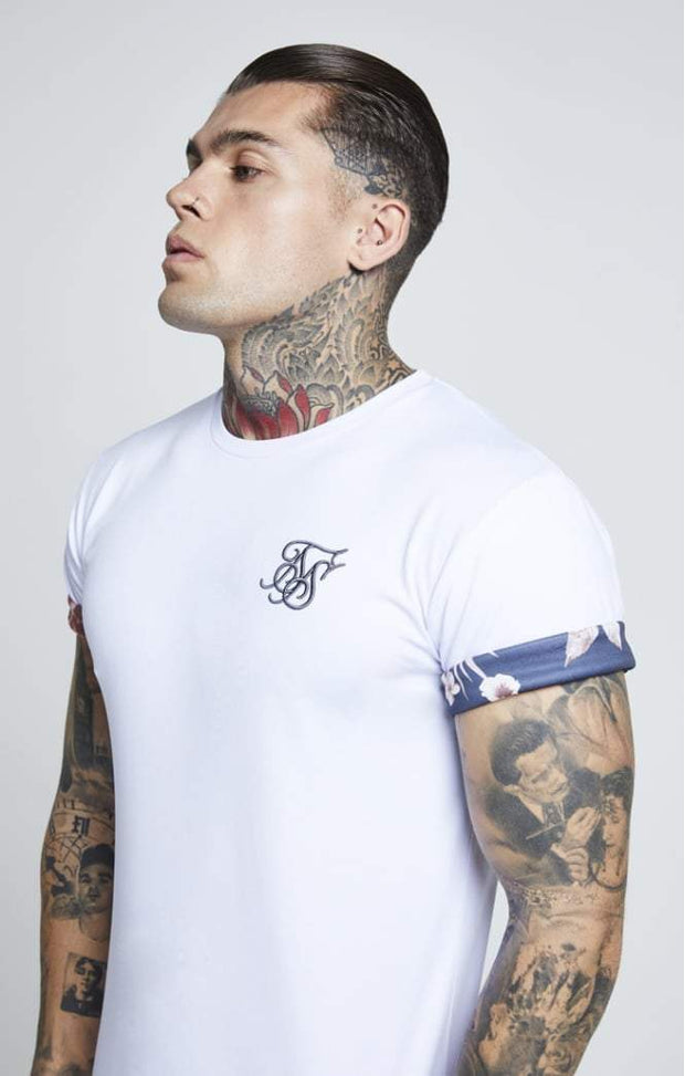 SIK SILK T-SHIRTS SikSilk  Curved Hem Rolled Sleeve Tee – White