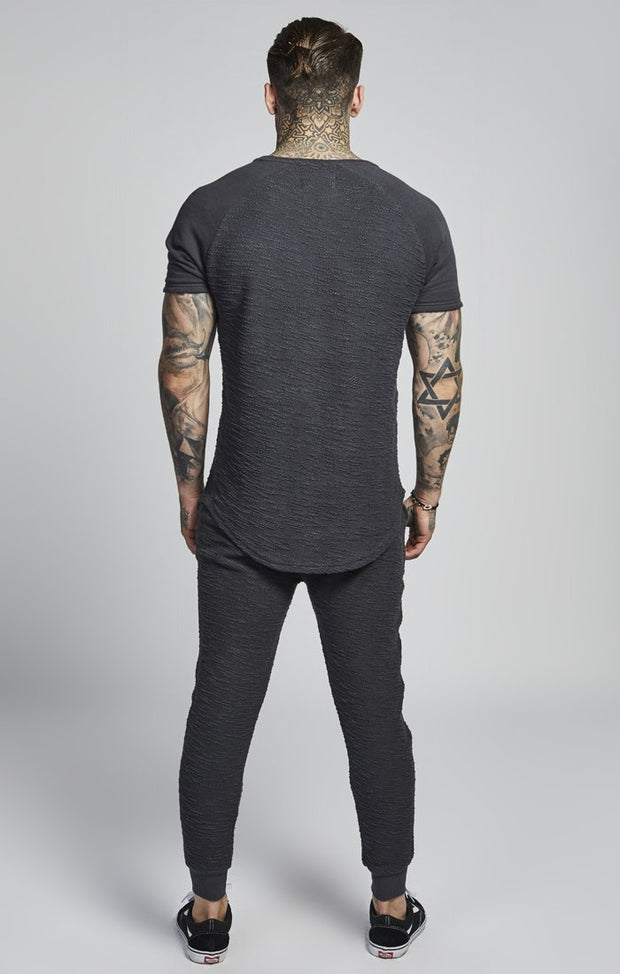 SIK SILK T-SHIRTS SikSilk Flannel S/S Curved Hem Tee - Charcoal
