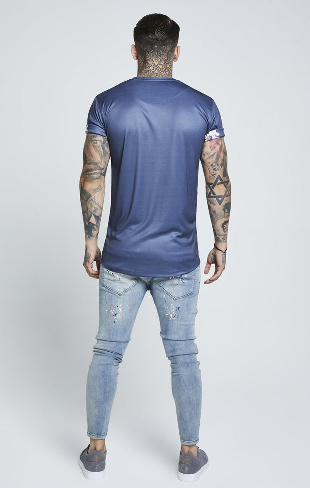 SIK SILK T-SHIRTS SikSilk  Hazey Daze Roll Sleeve Scoop Tee – Navy