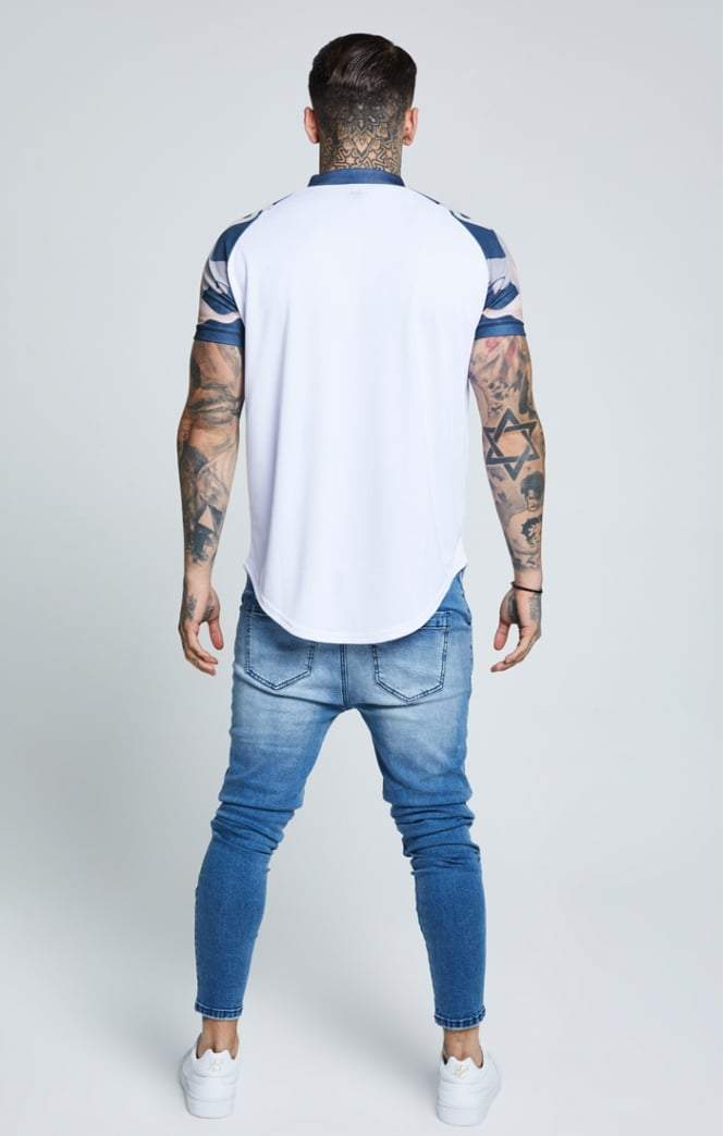 SIK SILK T-SHIRTS SikSilk  Heron Baseball Tee - White