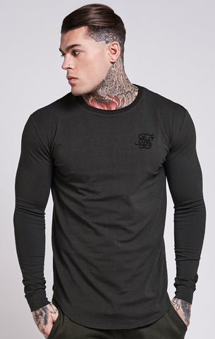 SIK SILK T-SHIRTS SikSilk Long Sleeve Curved Hem Tee - Khaki