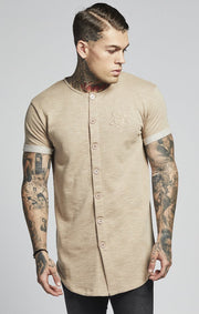 SIK SILK T-SHIRTS SikSilk Loop Back Button Through Sweat – Stone