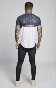 SIK SILK T SHIRTS SikSilk Marble Baseball Tee – Dark Navy & White