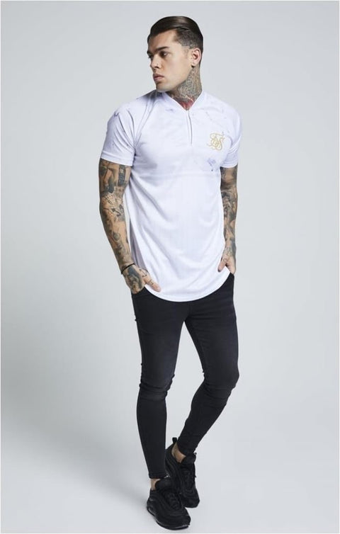 SIK SILK T SHIRTS SikSilk Marble Baseball Tee – Off White