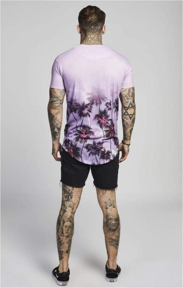 SIK SILK T-SHIRTS SikSilk  Palm Rework Curved Hem Tee – Deep Lilac