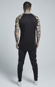 SIK SILK T-SHIRTS SikSilk  Raglan Curved Hem Tee – Black & Gold Venetian