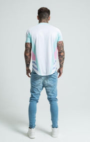 SIK SILK T-SHIRTS SikSilk Retro Pastel Baseball Tee - White