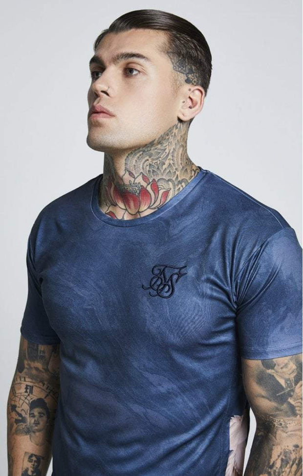 SIK SILK T-SHIRTS SikSilk  S/S Curved Hem Slide Tee – Navy Heron