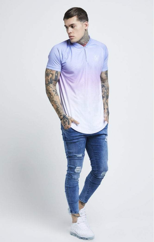 SIK SILK T -SHIRTS SikSilk Triple Fade Baseball Tee – Blue, Lilac & White