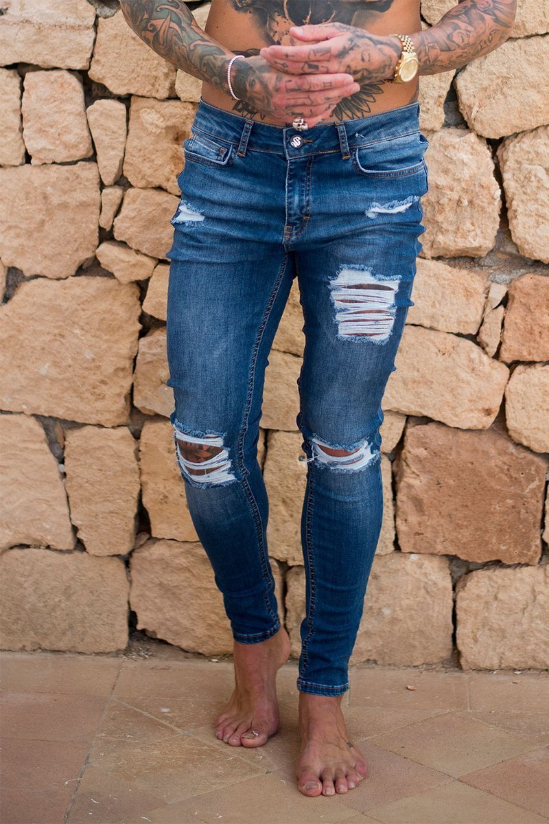 SINNERS ATTIRE JEANS SINNERS RIPPED & REPAIRED JEANS - DARK BLUE