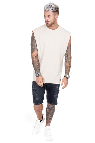 THE COUTURE CLUB T-SHIRTS MENS CUT OFF TEE 117 | SAND