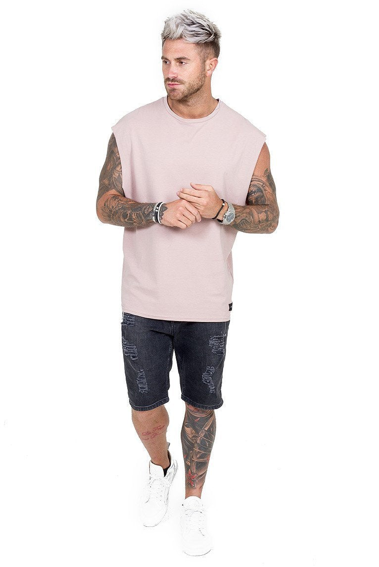 THE COUTURE CLUB T-SHIRTS THE COUTURE CLUB MENS CUT OFF TEE 117 | DUSKY PINK