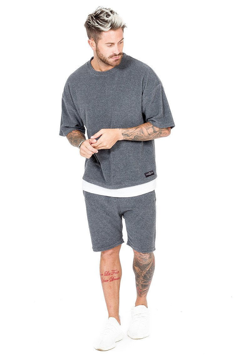 THE COUTURE CLUB T-SHIRTS THE COUTURE CLUB - MENS NEWPORT OVERSIZED SWEAT TEE | CHARCOAL