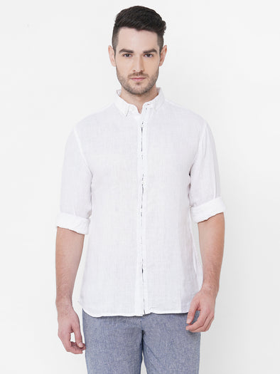 Men's Linen White Slim Fit Shirt Cottonworld Men's Shirts