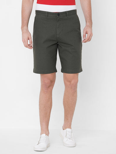 Men's Cotton Linen Olive Regular Fit Shorts Cottonworld Men's Shorts