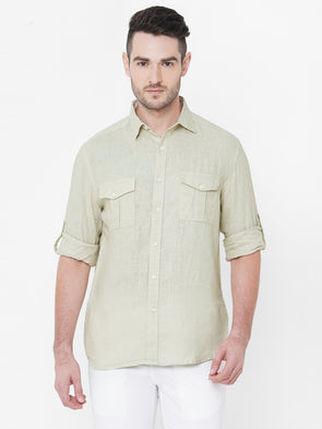 Men's Linen Natural Regular Fit Shirt Cottonworld Men's Shirts