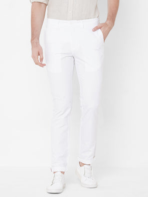 Men's Cotton White Slim Fit Pants Cottonworld Men's Pants