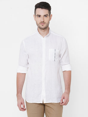 Men's Linen White Regular Fit Shirt Cottonworld Men's Shirts