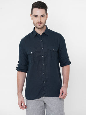 Men's Linen Navy Regular Fit Shirt Cottonworld Men's Shirts