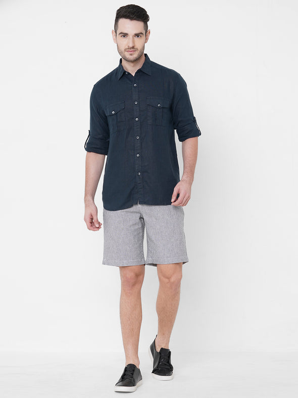 Men's Cotton Linen Navy Regular Fit Shorts Cottonworld Men's Shorts