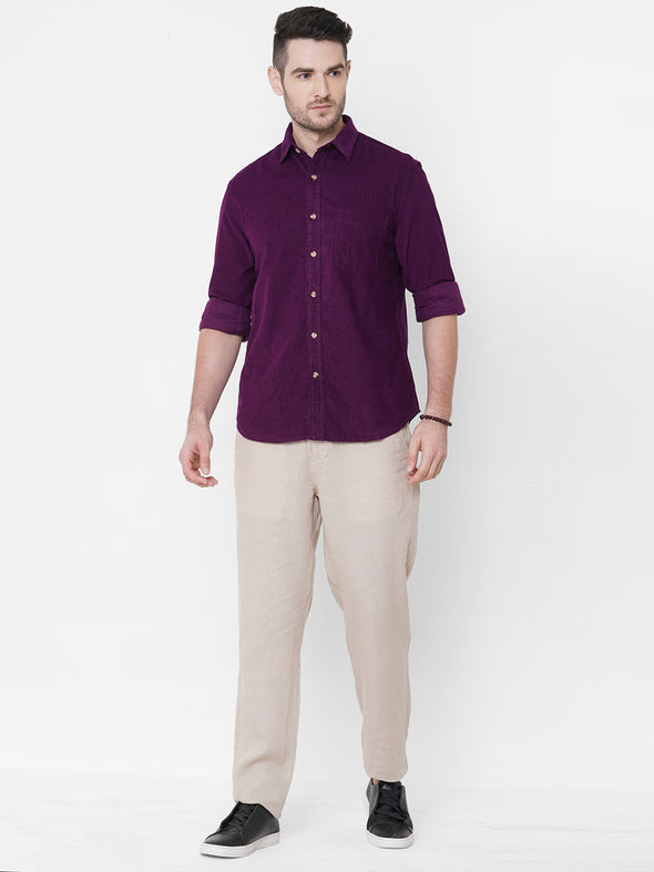 Men's Cotton Wine Regular Fit Shirt Cottonworld Men's Shirts