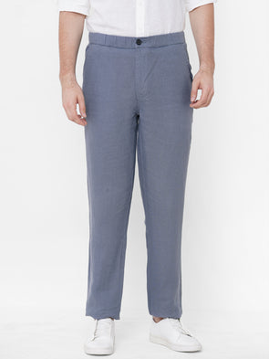 Men's Linen Greyish Blue Regular Fit Pants Cottonworld Men's Pants