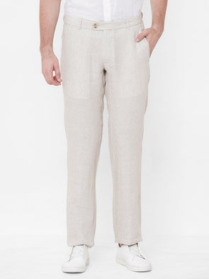 Men's Linen Natural Regular Fit Pants Cottonworld Men's Pants