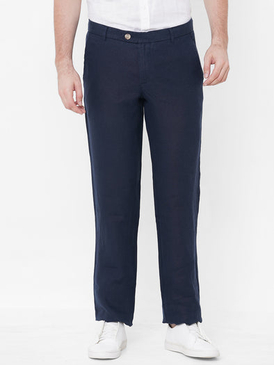 Men's Linen Navy Regular Fit Pants Cottonworld Men's Pants