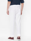 Men's Linen  White Regular Fit Pants Cottonworld Men's Pants