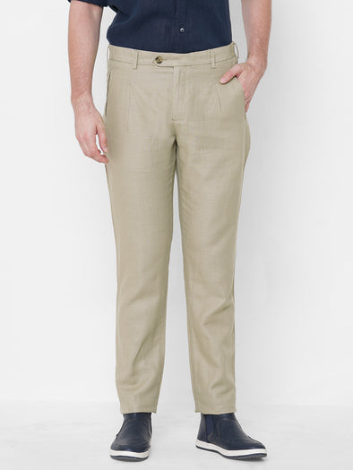 Men's Linen Cotton Khaki Slim Fit Pants Cottonworld Men's Pants