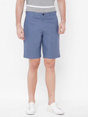 Men's Cotton Linen Blue Regular Fit Shorts Cottonworld Men's Shorts