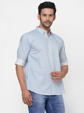 Men's Cotton Blue Slim Fit Geo Printed Shirt