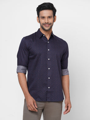 Men's Cotton Navy Slim Fit Geo Printed Shirt