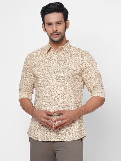 Men's Cotton Natural Slim Fit Small Floral Printed Shirt