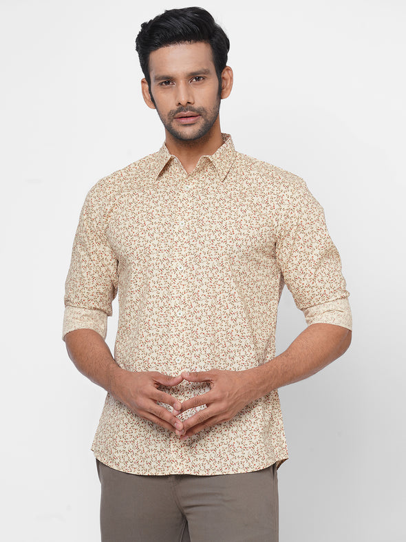 Men's 100% Cotton Slim Fit Floral Printed Shirt